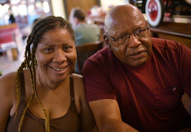 Sabrina Simms and Albert Toney Jr. reunited at a diner in Shrewsbury on Sunday.