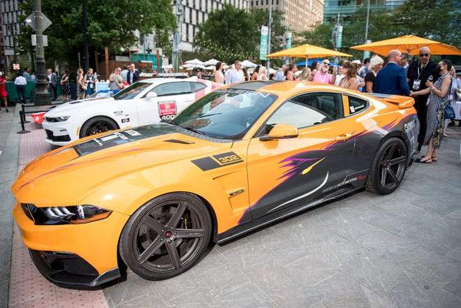 A 2019 Saleen Mustang S302 is pictured during the Motor City Car Crawl Charity Gala at Campus Martius Park.