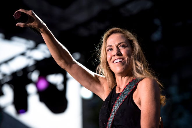 Sheryl Crow performs during the Motor City Car Crawl Charity Gala at Campus Martius Park in Detroit.