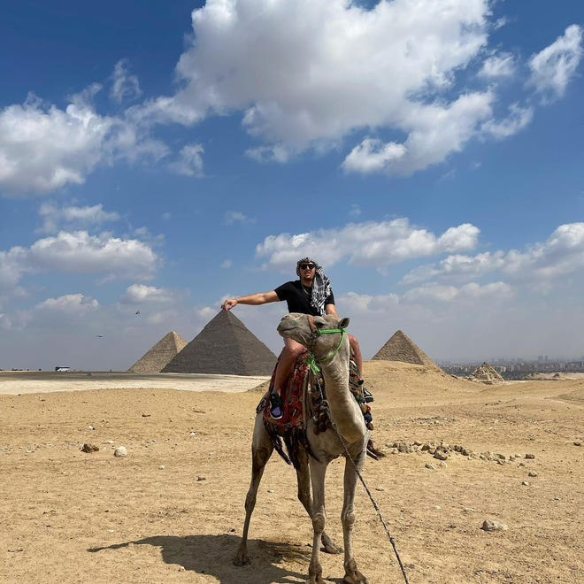 Browns tight end Austin Hooper during his 15- to 20-minute camel ride at the Pyramids in 2021. Gaining an appreciation for international travel, Hooper visited Egypt during the offseason with his former Stanford quarterback Kevin Hogan, who spent 2017 with the Browns, and former Pittsburgh Steelers fullback Roosevelt Nix, a Kent State product.