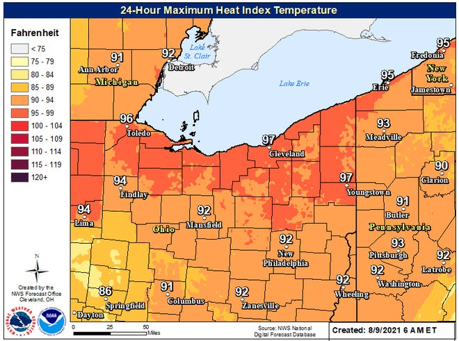 The National Weather Service in Cleveland is predicting high temperatures that feel even hotter due to humidity.