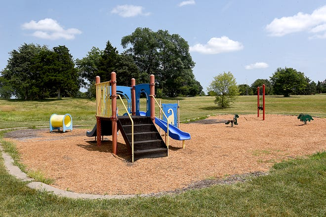 This small playground at the Columbia Cosmopolitan Recreation Area is scheduled to be replaced next year at a cost of $47,000 as part of Columbia's capital improvement plan.