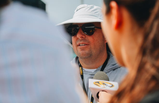 Missouri head football coach Eli Drinkwitz speaks to reporters after the first day of preseason practice Friday at the Kadlec Practice Fields.