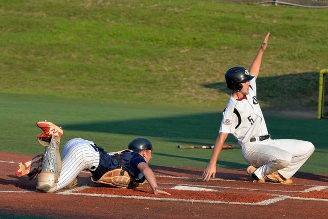 Blake Marsh (5) and Randolph County Post 45 concluded their 2021 American Legion baseball season in the Mid-Atlantic Regional tournament last week at McCrary Park. [Mike Duprez/Courier-Tribune]