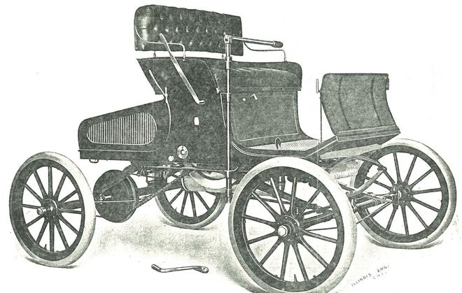 """The Murray motor car was the first of three automobile brands produced by the Church Manufacturing Co. in Adrian in the early 20th century. Pictured here is an image of the """"Runabout"""" model with the rear seats removed.  The Murray, which had a chain drive and a steering tiller — rather than a steering wheel — went into production in 1902. One of the very few remaining examples of this early car is on display at the Lenawee Historical Museum in Adrian."""
