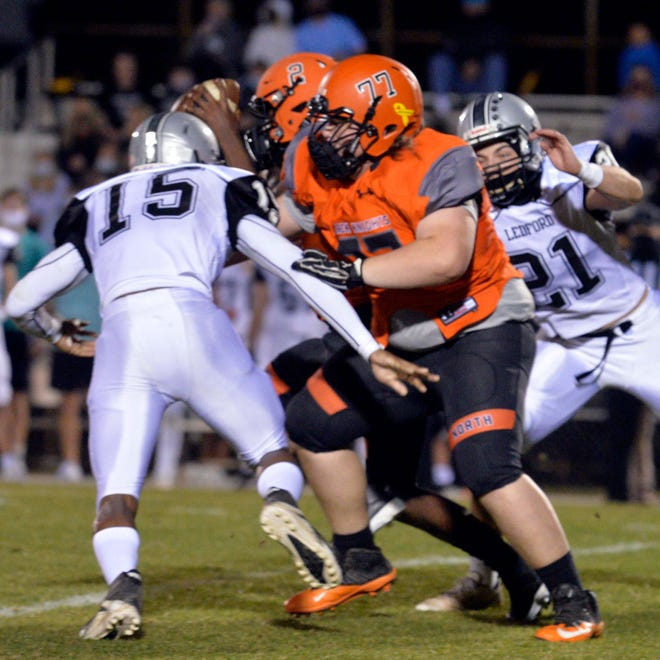 Allan Foltz (77) is one of several returning linemen for North Davidson. [Mike Duprez/The Dispatch]