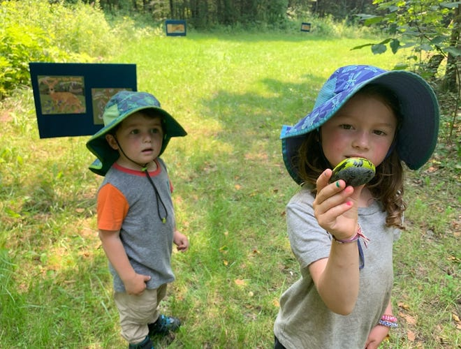 """""""Families enjoyed a nature I-Spy and hunting for rocks painted by the RPL staff on the trails of Pickering Ponds last week, while heading out to the StoryWalk."""""""