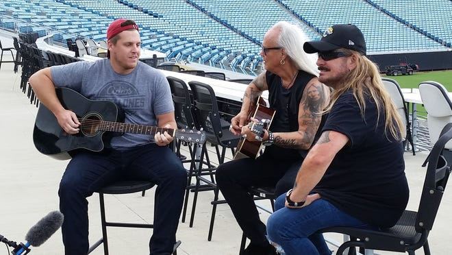 """Carson Tinker, the Jaguars' former long-snapper, sat in with Rickey Medlocke and Johnny Van Zant of Lynyrd Skynyrd for an impromptu performance of """"Sweet Home Alabama"""" and """"Simple Man"""" at TIAA Field prior to the band's farewell show at the stadium. The band has put its tour on hold while Medlocke recovers from COVID-19."""