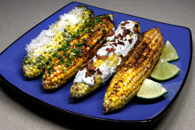 Liven up your corn on the cob this summer with one or more of these flavorings on grilled ears of goodness: from left, Basil Butter with Parmesan, Honey Chipotle Glaze, Bacon with Ranch Drizzle and Smoky Barbecue Rub.