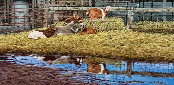 """""""A Trippen of Goats,"""" an oil painting by David Larkins, is part of a national art show. Photo courtesy of David Larkins"""