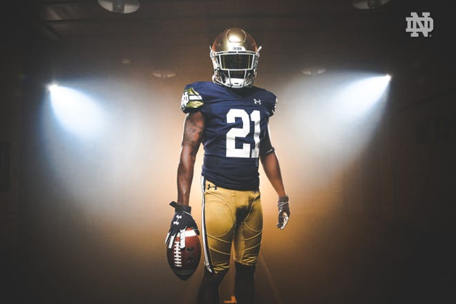 Notre Dame football will wear this uniform for its Shamrock Series game against Wisconsin in Chicago's Soldier Field on Sept. 25, 2021.