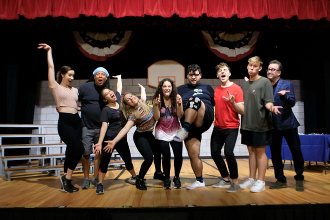 """The troupe at Priscilla Beach Theatre in Plymouth rehearses for its production of """"The 25th Annual Putnam County Spelling Bee,"""" which runs through Aug. 14. From left,  Jackie Blasting, of Syracuse, N.Y.; Mark Rocheteau, of Plymouth;  Emily Song Tyler, of Rochester, N.Y.; Shannon Rackow, of New York City; Emily Royer of  Lexington; Allen Machioni of Rochester, N.Y.; Ryan Rowell of Braintree; Malaki Cummings of Charleston, S.C. and Ron Fassier of New York City."""