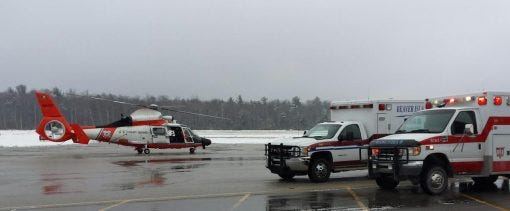 Aircraft typically are used for transportation when a patient needs treatment at a mainland hospital following a medical emergency on Beaver Island. These runs may be handled via plane, or as in the example shown here, a helicopter.