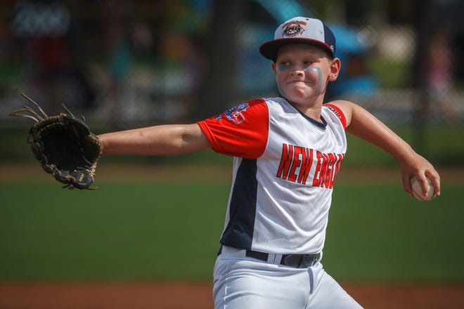 Dover's Connor Lynch delivers a pitch against Jacksonville, Florida in a pool-play game at the Cal Ripken World Series Monday morning in Palm Beach Gardens, Florida. Dover lost 7-6 in seven innings.
