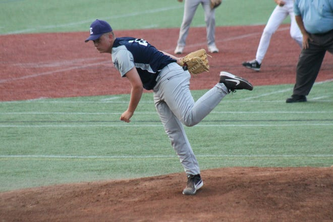 Exeter Post 32 reliever Evan Tanner delivers a pitch during Jr. Legion state tournament play Sunday in Manchester.