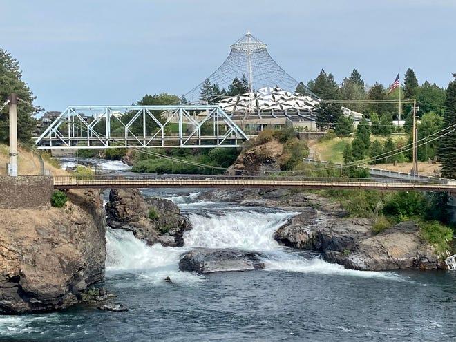 Spokane Falls and the US Pavilion in Spokane's Riverfront Park.