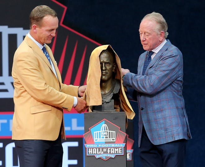 Peyton Manning was enshrined in the Pro Football Hall of Fame at Tom Benson Hall of Fame Stadium on Sunday, August 8, 2021. Manning was presented by father Archie Manning.