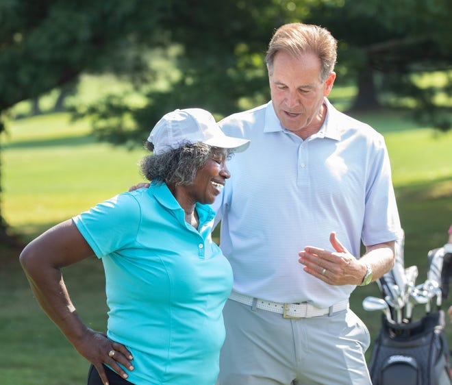 """Renee Powell and Jim Nantz talk during the """"Celebration of Clearview with Jim Nantz"""" at Clearview Golf Club, Monday, Aug. 9, 2021."""
