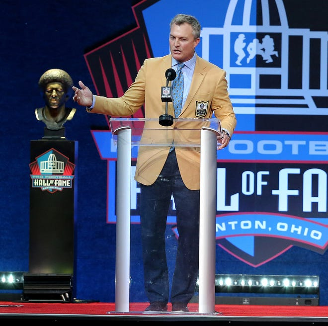 John Lynch was enshrined in the Pro Football Hall of Fame at Tom Benson Hall of Fame Stadium on Sunday, August 8, 2021. Lynch was presented by son Jake Lynch and coach Herm Edwards.