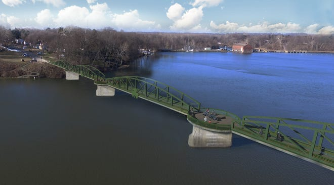 This illustration suggests ideas for what a pedestrian bridge across Lake Chapin could look like as it enters Berrien Springs, resting atop concrete piers from a former interurban rail line.