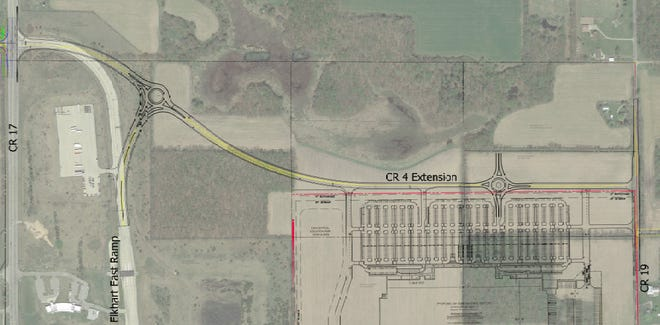 A proposed new three-story warehouse building is planned for an area between County Road 17 and County Road 19 along the Toll Road in Elkhart County.