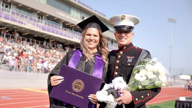 Harlei Struck received her master's degree at Friday morning's commencement ceremony at Tarleton State University. Her brother, Cody, a U.S. Marine, made a surprise appearance. Cody was granted brief leave on Thursday, flew in late Thursday night so he could see his sister walk the stage, and returned to his military duty station on Sunday.
