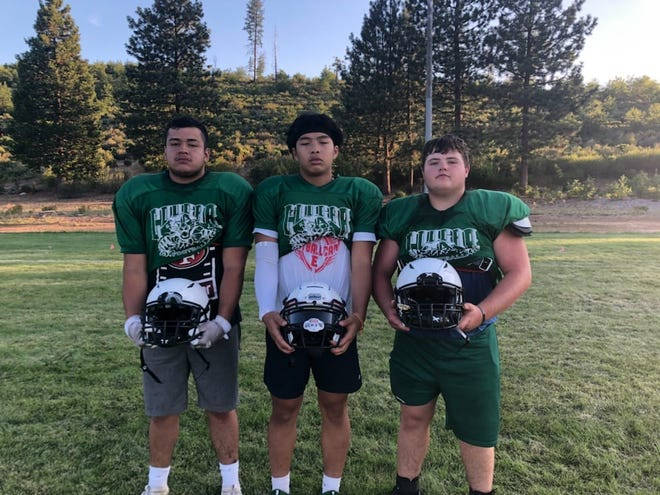 Julio Garcia, Kobe Chanthavisouk and Colby Montgomery of the Weed Cougars football squad.