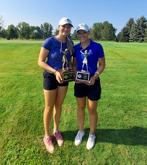 Lani Potter of Aberdeen, right, defeated her SDSU teammate Alex Kandolin by six shots at the SDGA Amateur Championship at Moccasin Creek Country Club.
