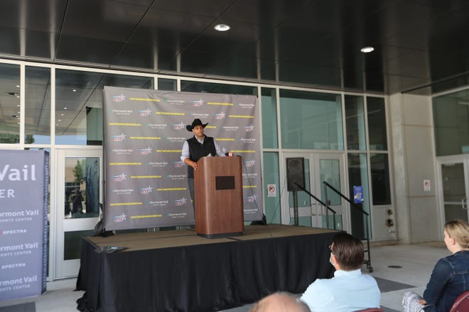 J.R. Bond, owner of Topeka's new arena football team, speaks Monday at a news conference announcing Stormont Vail Events Center as the team's home.