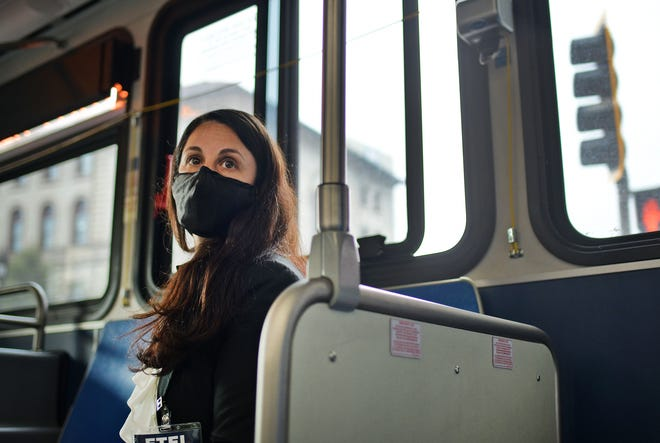 City Council candidate Etel Haxhiaj rides the bus as part of the #taketheWRTAChallenge.