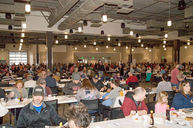 Crowds fill the tables at The Venue at Coosa Landing on Feb. 16, 2019, during Kiwanis Pancake Day. The 2021 event, which had been rescheduled for Aug. 28 because of COVID-19, has been canceled because of a surge in cases from the delta variant. The Gadsden Kiwanis Club has set its next Pancake Day for Feb. 19, 2022.