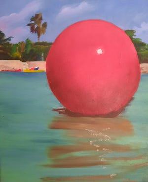 This painting by Barbara O'Brien, of Maynard, is called 'Mooring Ball.'