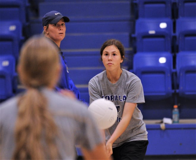 Trent coach Cheyenne Ellison looks on during volleyball practice Aug. 5 at the Trent gym. This is Trent's first season to play volleyball.