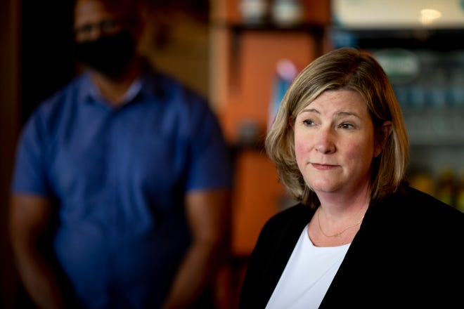 Mayor Nan Whaley, Democratic Gubernatorial candidate and Dayton Mayor, speaks about her economic plan during a press conference on Monday, Aug. 9, 2021, at BlaCk Coffee Lounge in Cincinnati.