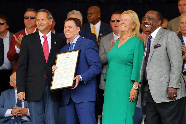 President of the National Baseball Hall of Fame and Museum Jeff Idelson, Ford C. Frick Award winner Bob Costas, Chairman of the Board of Directors of The National Baseball Hall of Fame and Museum Jane Forbes Clark, and Hall of Famer Joe Morgan pose during the 2018 Hall of Fame Awards Presentation at the National Baseball Hall of Fame on Saturday July 28, 2018 in Cooperstown, New York.