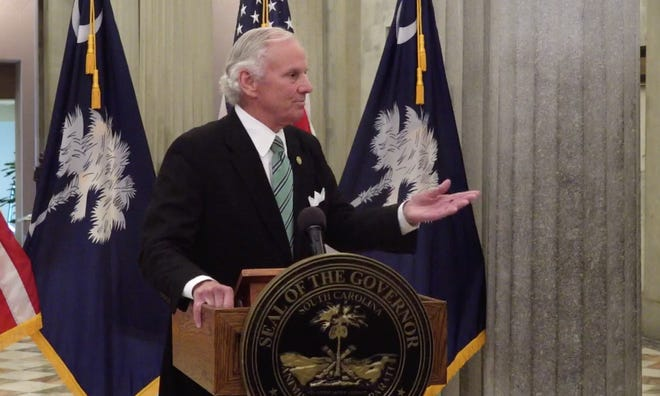 South Carolina Gov. Henry McMaster holds a briefing on COVID-19from the State House in Columbia.