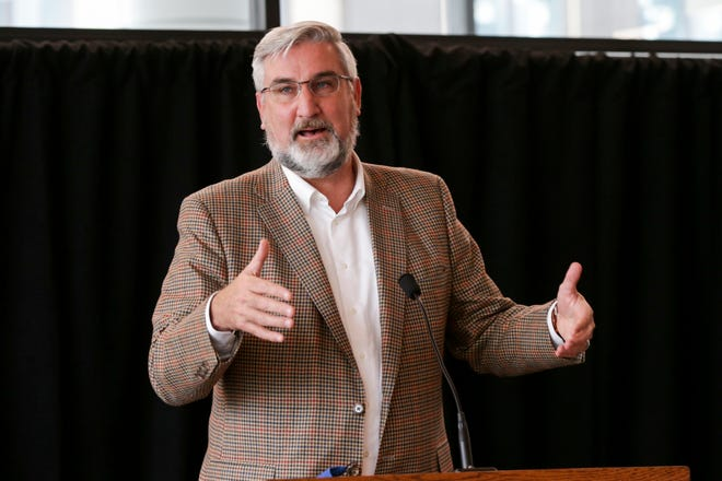 Gov. Eric Holcomb speaks at an announcement for a Hypersonic Ground Test Facility to be located in the Purdue Aerospace District, Monday, Aug. 9, 2021 in West Lafayette.