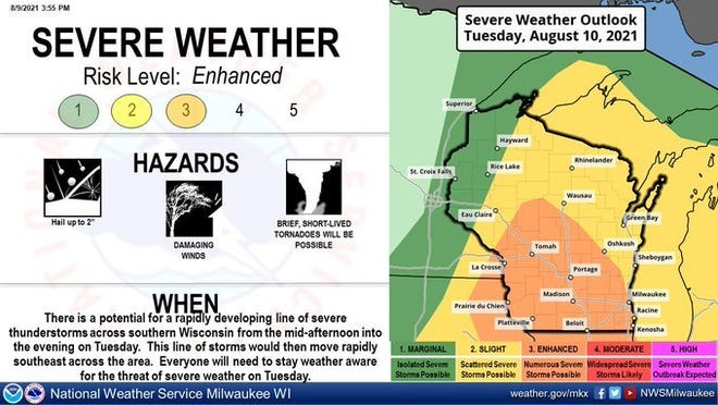 Much of Wisconsin is at an enhanced risk for severe weather Tuesday.