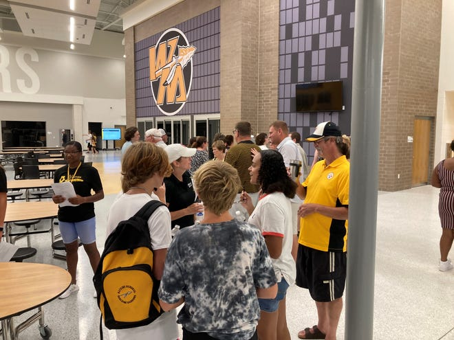Southwest Licking Schools' parents and students got a firsthand look inside the new Watkins Memorial High School during a special ceremony Aug. 8.