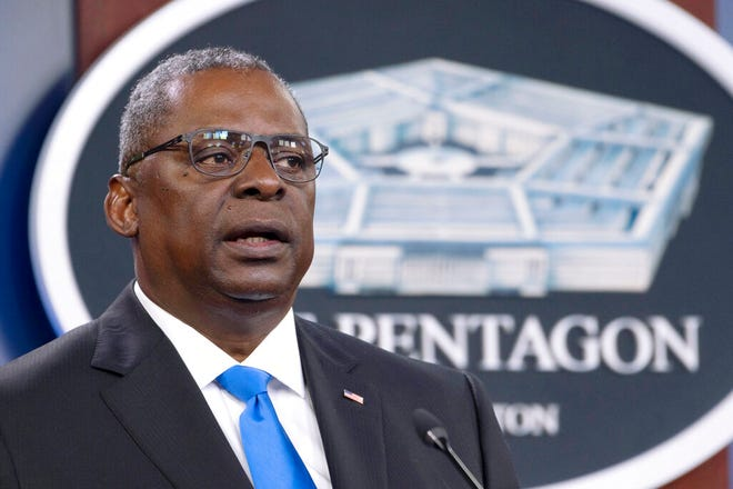 FILE - In this July 21, 2021 file photo, Defense Secretary Lloyd Austin speaks at a press briefing at the Pentagon in Washington. Austin has said he is working expeditiously to make the COVID-19 vaccine mandatory for military personnel and is expected to ask Biden to waive a federal law that requires individuals be given a choice if the vaccine is not fully licensed. (AP Photo/Kevin Wolf, File)