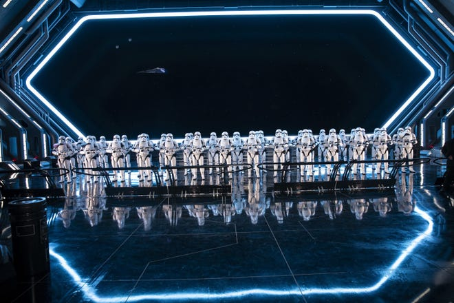 On a star destroyer, 50 Stormtroopers greet riders, on Star Wars: Rise of the Resistance, during a press preview at Star Wars: Galaxy's Edge at Disney's Hollywood Studios, in Orlando, Florida, on Dec. 3, 2019. The ride was billed as Disney's most ambitious ride ever and the key to ushering in the crowds to Galaxy's Edge.(Jay L. Clendenin/Los Angeles Times/TNS)