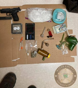 A handgun, about 300 grams of methamphetamine, other drugs and paraphernalia were found Sunday, Aug. 8, 2020, when officers served an arrest warrant at a Dublin residence.