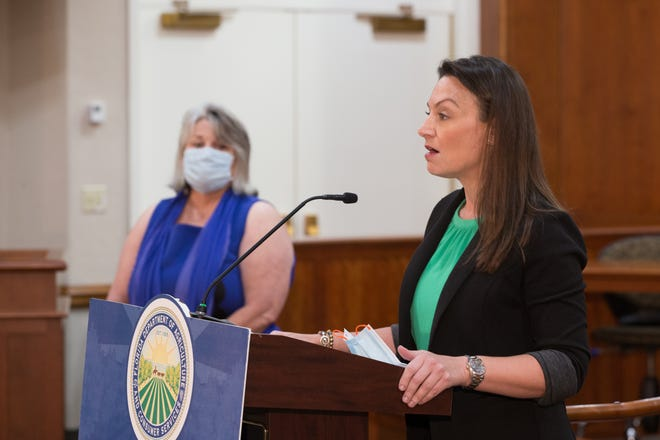 Agriculture Commissioner Nikki Fried holds a press conference Aug. 9 to give an update on COVID-19 and discuss masking in Florida's schools. With her at the state Capitol is Wakulla County School Board member Verna Brock.