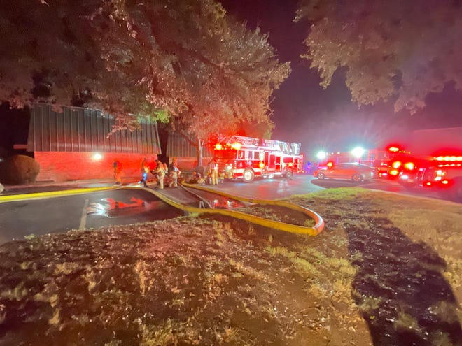 Wichita Falls firefighters battle an apartment building fire late Sunday.
