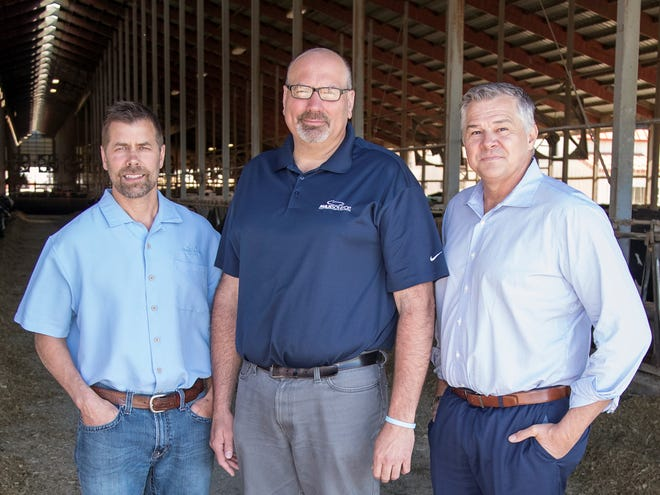 Dairy Producers of the Year, from left,  John Vosters, Todd Willer, and Jim Ostrom, of Milk Source, LLC.