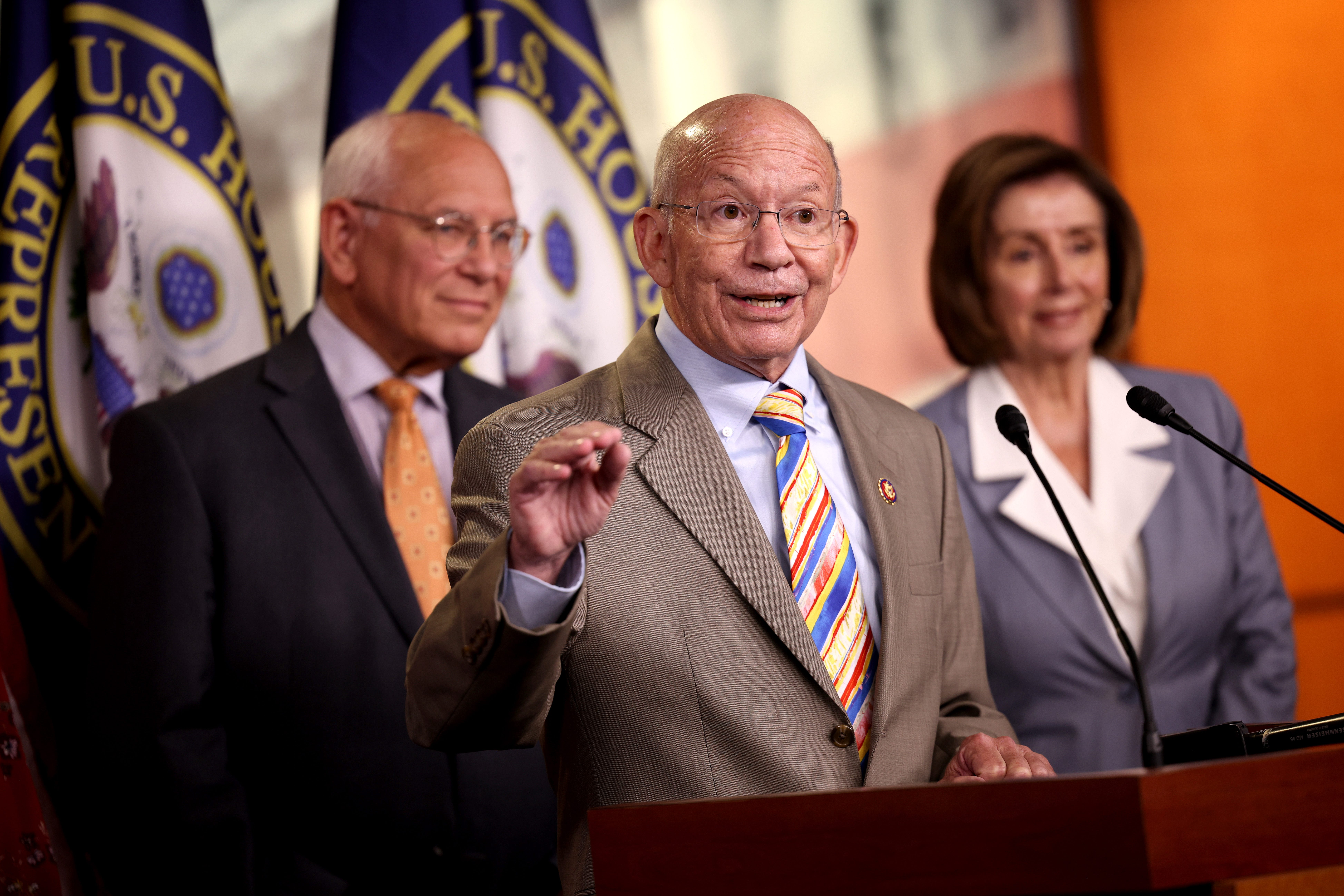 Rep. Peter DeFazio, D-Ore., speaks alongside Rep. Paul Tonko, D-N.Y., and Speaker of the House Nancy Pelosi, D-Calif., at a press conference on the INVEST in America Act on June 30 in Washington, DC.