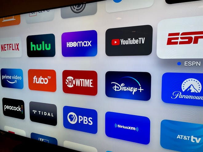 An Apple TV menu showing streaming services.