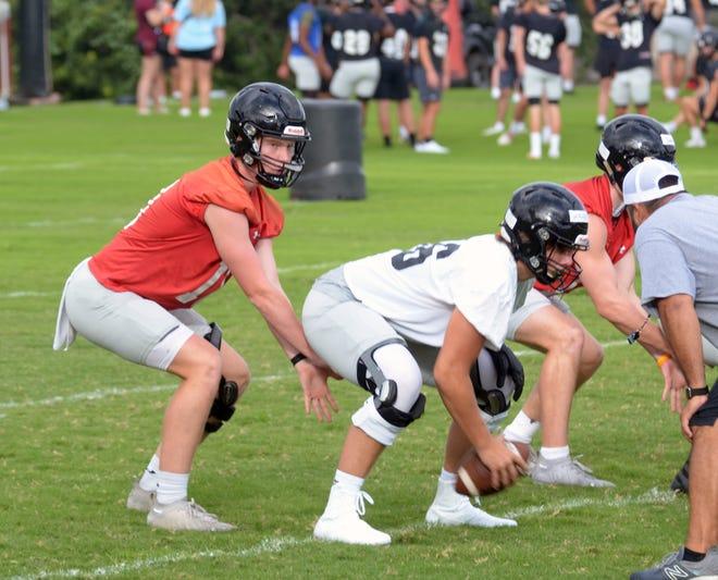 Lake Travis junior quarterback Bo Edmundson takes a snap during the team's first preseason practice Monday at Cavalier Stadium.