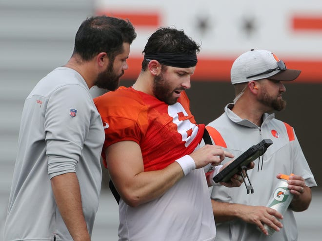 Browns quarterback Baker Mayfield (6) said the first-team offense will be ready to go for the first regular-season game whether they play in the preseason or not. [Beacon Journal file]