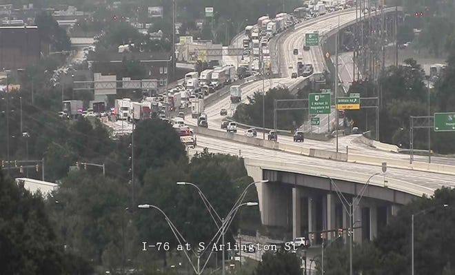 I-76 westbound in Ellet was closed due to a crash Tuesday morning. This is the view taken from an ODOT traffic camera at S. Arlington Street.